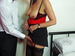 Saggy mature tits and a hot lingerie set seduce him