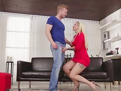 Curvy lass in red lipstick sucks a big dick and gets pounded