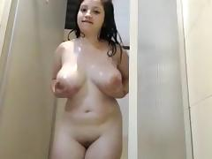 Ass, Ass, Big Tits, Brunette, Shower, Solo