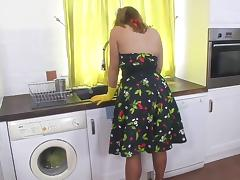 Stockings, Anal, Blonde, Kitchen, Masturbation, Stockings