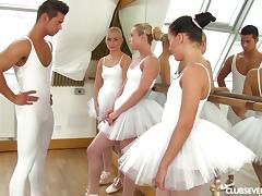 Ballerinas in white tutus fucking a fit dude with a big dick