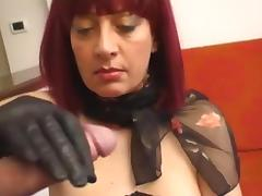 Cum all over her leather palm