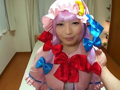 Wicked Japanese girl in a costume penetrated in the missionary pose