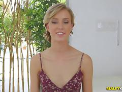 Beautiful girl Haley Reed is ready for her first porn scene