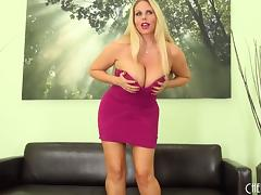 Handsome blonde reveals her curvaceous body and plays with the pussy