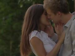 Beautiful college girl make love outdoor with creampie