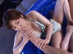 Riding the cock with the perfectly shaped ass brings Saki pleasure