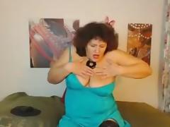 Messy haired chubby perverted busty nympho masturbated like a mad