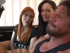Milf watches her husband fuck a hot redhead and masturbates