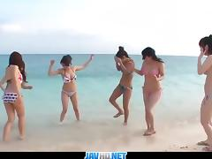 Outdoor orgy with beautiful japanese girls Kyouko Maki