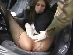 Sexy brunette fisted outdoor