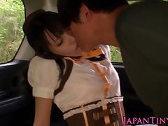 Nippon tiny babe sixtynining in the car