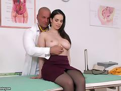 Nekane visits the doctor and he fucks her pretty shaved pussy