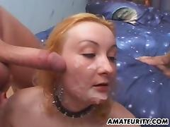 Balling the asshole of a hot blonde slut and nutting on her face