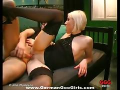 Bleach blonde slut loves coming to the studio to fuck
