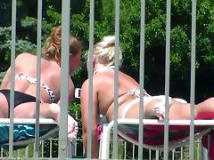 1 of 3 Candid Bikini Butt Tanning Pool Selfie Blonde Redhead