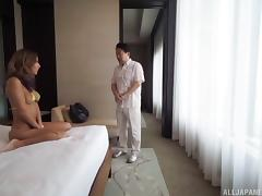 Lithe and lively bikini girl in his hotel room gets fucked
