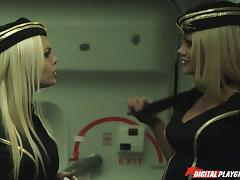 Double teamed Asian beauty shares their dicks on a plane