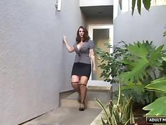 Sexy white girl with nice big fake tits fucked by black dick