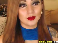 Huge Titties Shemale Gives Her Cock a Hard Grip While Masturbating