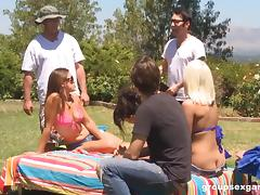 Big orgy party outdoors with curvy natural tits sluts