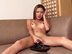 Luscious shemale with a petite body shows how she cums