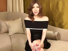 Feminine Japanese tranny strips out of her sexy dress and panties