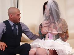 Slutty bridal lingerie on a cock craving tattooed girl