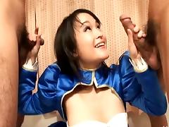 Cute Asian in satin takes on two guys with her hairy cunt