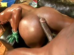 Saucy and booty ebony slut gets her asshole screwed hard by a big black cock