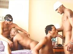 Hot black guys in a hotel room for an anal orgy