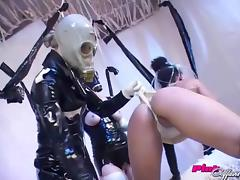 Mistress using and abusing her slave chick's tight pussy