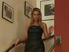 Leather, Blonde, Blowjob, Dress, Fucking, Leather