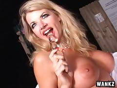 Big tits blonde solo model masturbating with a glass toy outdoors