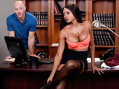 Diamond Jackson & Johnny Sins in Oily Office - Brazzers