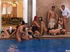They all take it by the swimming pool as they enjoy a steamy orgy action