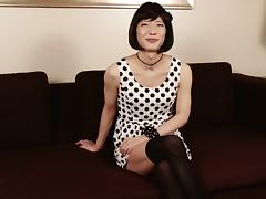 Thrilling Asian shemale gladly reveals her skinny ass and a nice dick