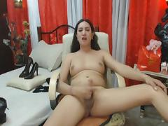 Horny shemale strokes her dick until she cum