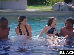 BLACKED.com Foursome Fuck with Two Hot Brunettes