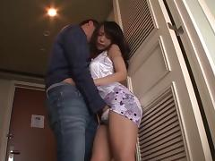 Skinny Asami Nagase always moans during the doggy style bonking