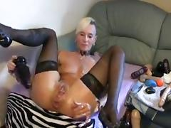 Mature lady breaks own ass