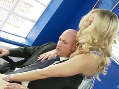 Blonde with a hairy snatch impales herself on the guy's sausage