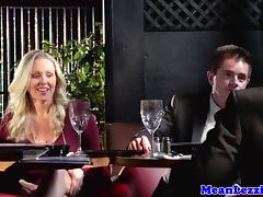 Milf fingers ass and pussy during dinner