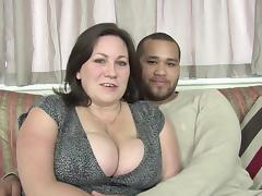 Horny BBW gallops loads of fresh cum from the big cock before weathering hardcore sex on the couch