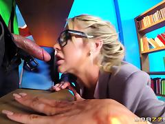 Nerdy babe Courtney is seduced and now she's ready for cock riding