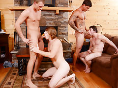 Bryce & Scott Harbor & Sebastian Young & Tom Faulk in Backwoods Bareback Part #3 Scene 1 - Bromo