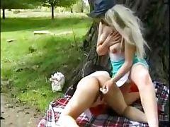 Delicious amateur lesbians fucking in the park