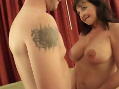 Mature pussy is pink and wet as the dude fucks her