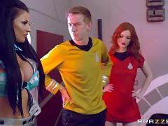 Captain Kirk's dick is quite big and these girls would like to ride it