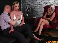 Euro CFNM femdoms feasting on blokes knob